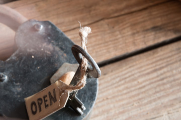 label open, old padlock and key