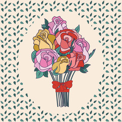 bouquet of roses as a greeting card