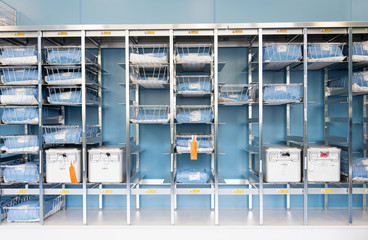 UK, Scotland, Storage Room with medical equipment