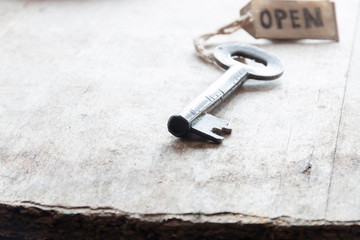 Old Key and label open