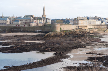France, Brittany, Ille-et-Vilaine, Saint Malo, Walled city seen from beach