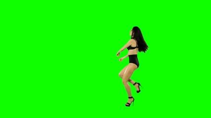 Go-go dancer girl isolated on green screen