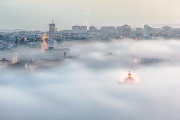 Portugal, Porto, Gaia, Cityscape in fog