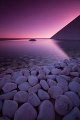 Portugal, Lisbon, Pebbles and still reservoir