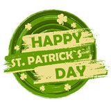 happy St. Patrick's day with shamrock signs, green round drawn b