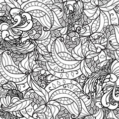 Vector black and white ornamental floral background. Pattern for