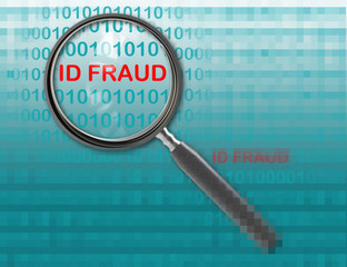 Close up of magnifying glass onid fraud