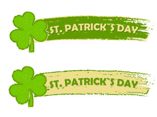 St. Patrick's day with shamrock signs, two green drawn banners