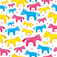 vector colorful toy horses seamless background
