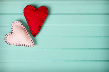Two felt hearts