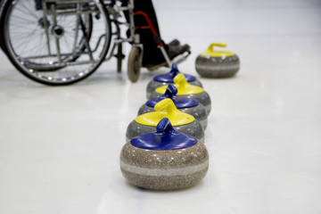 The Paralympic curling training wheelchair curling