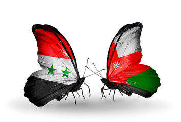 Two butterflies with flags Syria and Oman