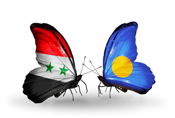 Two butterflies with flags Syria and Palau