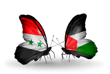 Two butterflies with flags Syria and Palestine