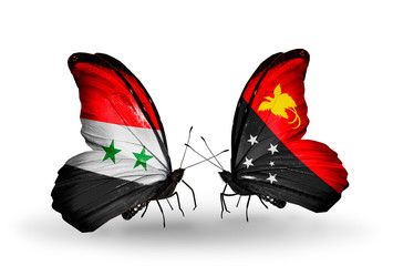 Two butterflies with flags Syria and Papua New Guinea