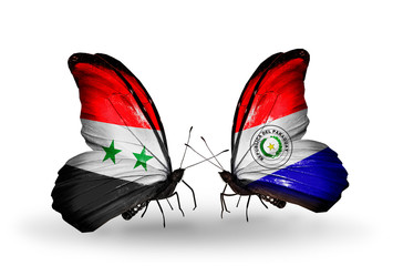 Two butterflies with flags Syria and Paraguay