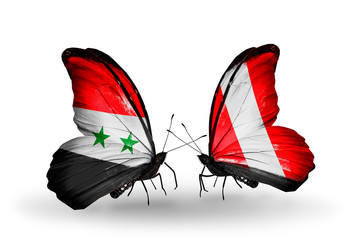Two butterflies with flags Syria and Peru