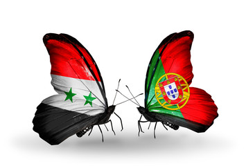Two butterflies with flags Syria and Portugal