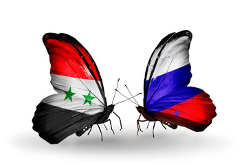 Two butterflies with flags Syria and Russia