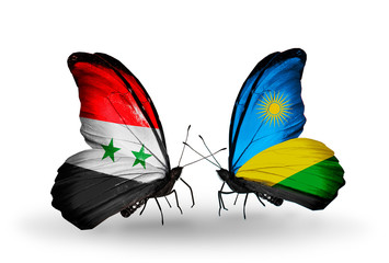 Two butterflies with flags Syria and Rwanda