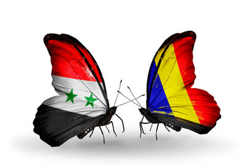 Two butterflies with flags Syria and Chad, Romania