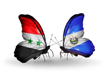 Two butterflies with flags Syria and Salvador