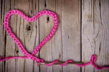 A crochet chain in the shape of a heart