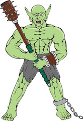Orc Warrior Wielding Club Cartoon