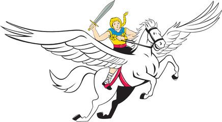 Valkyrie Amazon Warrior Flying Horse Cartoon