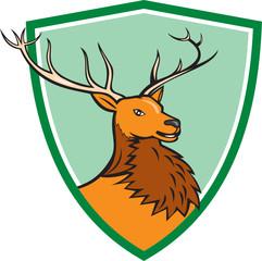 Red Stag Deer Head Shield Cartoon