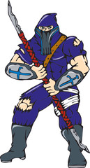 Ninja Masked Warrior Spear Cartoon