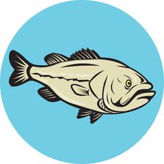 Largemouth Bass Fish Side Circle Cartoon