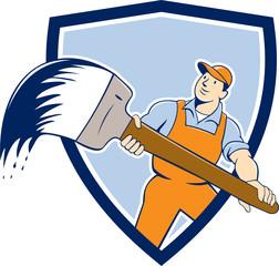 House Painter Giant Paintbrush Shield Cartoon