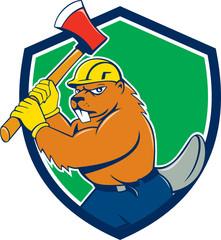 Beaver Lumberjack Wielding Ax Shield Cartoon