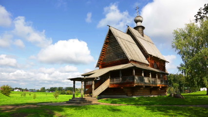 traditional russian wooden church for tourists in ancient town o