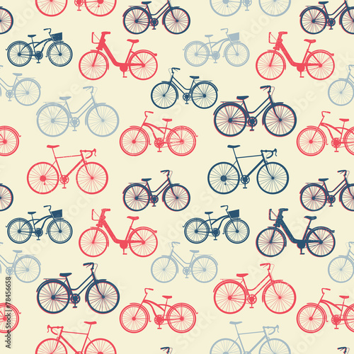 Materiał do szycia Seamless pattern with vintage bicycles