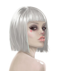 illustration of a sexy girl in a wig