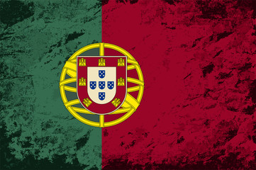 Portuguese flag. Grunge background. Vector illustration