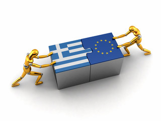 Political or financial concept of Greece struggling with the EU