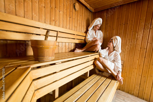 Young women in the sauna - 78457250
