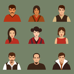 vector flat people face, avatar icon, cartoon character