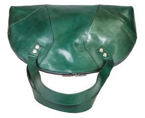 green leather handbag isolated on white