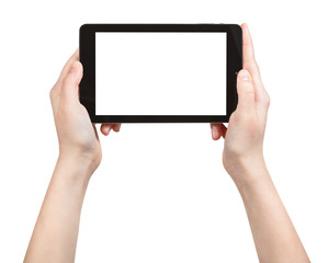 hands holding tablet pc with cut out screen