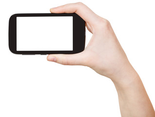 hand holding touchscreen phone isolated