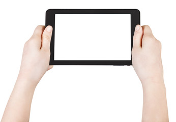 child's hands hold tablet pc isolated