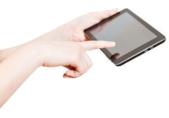 girl holding and touching touchpad screen isolated