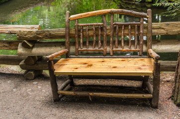 Wooden Bench in a Park