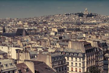 France, Paris, Cityscape with Basilique Du Sacre Coeur