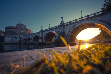 Italy, Rome, Museo Nazionale di Castel Sant'Angelo at sunrise