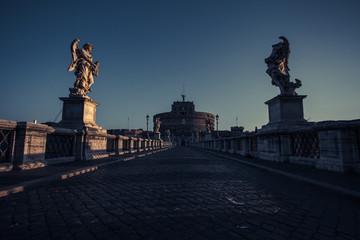Italy, Rome, Ponte Sant Angelo at sunrise